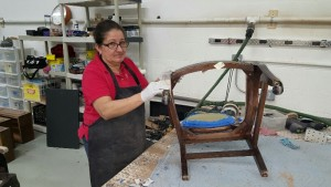 Furniture Medic Team restoring wooden chair in Carol Stream IL