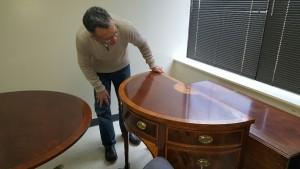 Furniture Medic team refinishing wood furniture in Carol Stream IL