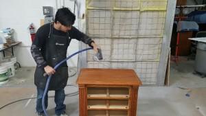 Furniture Medic team repairing wood furniture in Carol Stream IL