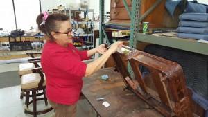 Furniture Medic team restoring wood furniture in Carol Stream IL
