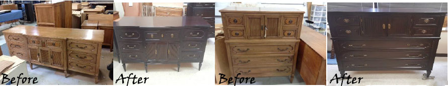 Before and after gallery for furniture restoration in Carol Stream IL
