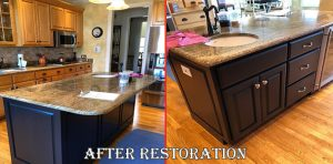 kitchen cabinet and island restoration in Illinois after picture