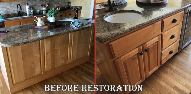 kitchen cabinet and island restoration in Illinois before picture