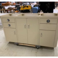 Furniture Medic by MasterCare Experts Fabricates Wooden Sink Cabinet to Match Old Metal Cabinet